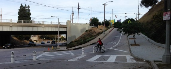 New striping and bollards makes the Silver Lake Boulevard at Temple Street a bit more livable. All photos: Joe Linton