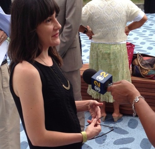 Valerie Watson interviewed at the opening of Pacoima's Bradley Plaza