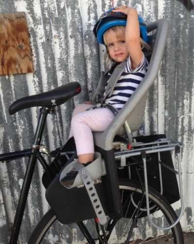 How daddy and daughter typically get around together: a Yepp bike seat on a rack on the back of my 10-speed bicycle. Photos by Joe Linton/Streetsblog L.A.