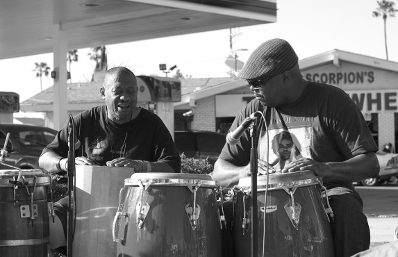 Drumming ruled the day, drowning out traffic noise and inspiring collaboration and connection. Sahra Sulaiman/Streetsblog L.A.
