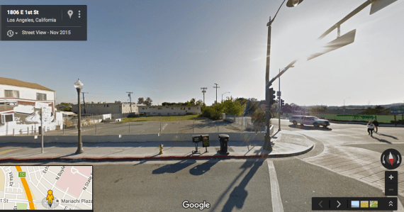 The lot at 1st and Boyle. to the right (across Boyle), an affordable housing project is being built. At a lot adjacent to Mariachi Plaza (where image was taken from) development will like come in the form of commercial space. (Google maps)