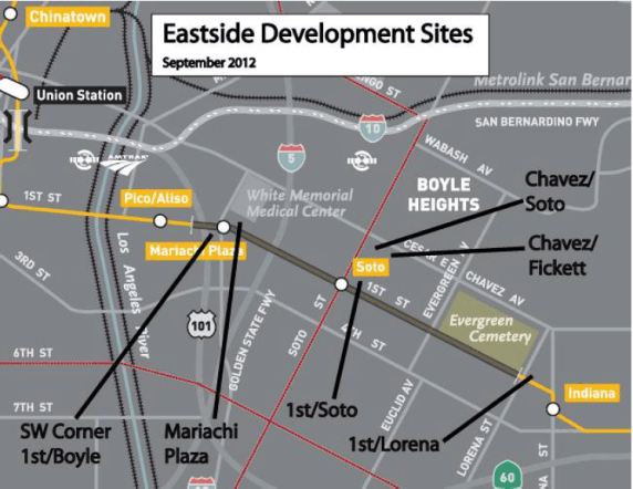 Proposed developments at Metro-owned lots in Boyle Heights. Most are affordable housing projects. Source: Metro