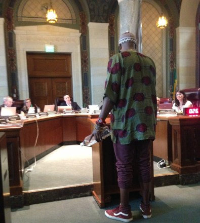 TRUST South L.A.'s Samuel Bankhead giving public comment in favor of Central Avenue bike lanes at yesterday's Planning Commission hearing. Photo: Joe Linton/Streetsblog L.A.