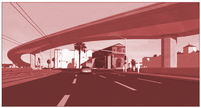 Rendering of Caltrans planned new 110 Freeway ramp