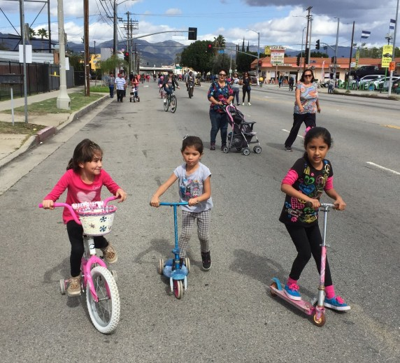 Kids take to the streets in Pacoima, during yesterday's CicLAvia. All photos Joe Linton/Streetsblog L.A.