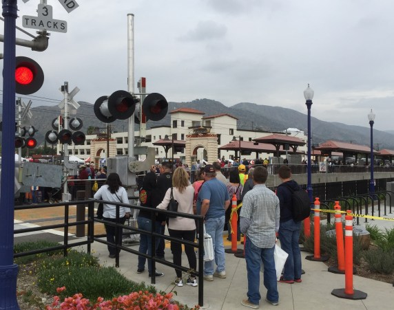 Crowds waiting to board the Gold Line in downtown Azusa