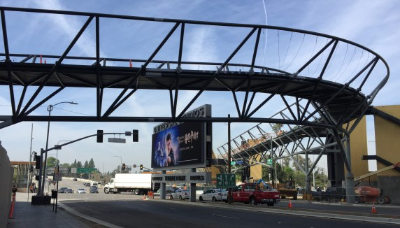 The formerly $19M Universal City Pedestrian Bridge now costs $30M. Photo: Joe Linton/Streetsblog L.A.