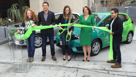 Zipcar cuts the ribbon, announcing its new one-way trip features available now in Los Angeles. Photo: Joe Linton/Streetsblog L.A.