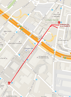 Los Angeles Street protected bike lanes will extend from Union Station to First Street. Map via LADOT