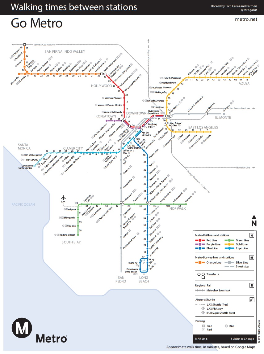 Los Angeles Subway Map 2016.New Map Shows Walk Time Between L A Metro Stations Streetsblog