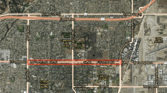 The highlighted section here is the total area of Claremont's Foothill Improvement Project proposal