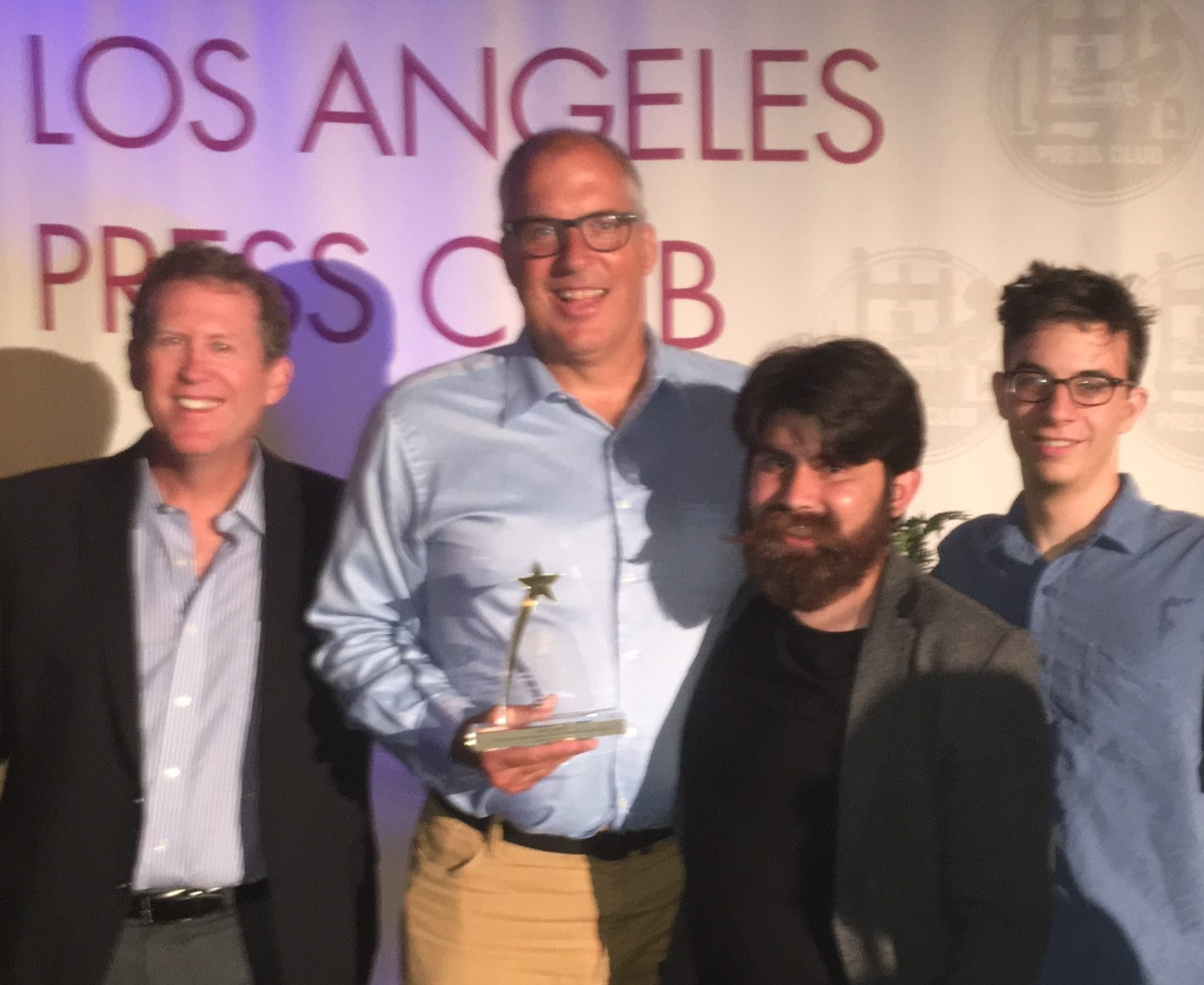 Streetsblog's team at last night's L.A. Press Club awards: left to right