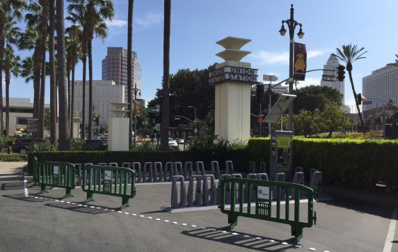 Eyes on the Street: 29-bike  bike-share solar powered docking station at L.A. Union Station. Photo: Joe Linton