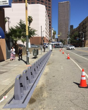 Eyes on the Street: newly installed bike-share docks spotted on 7th Street at Bixel Street. Photo: Joe Linton/Streetsblog L.A.
