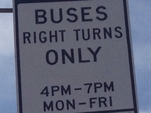 """Los Angeles bus-only lane signage. The bottom line states """"BIKES OK"""" Photo: Marc Caswell"""