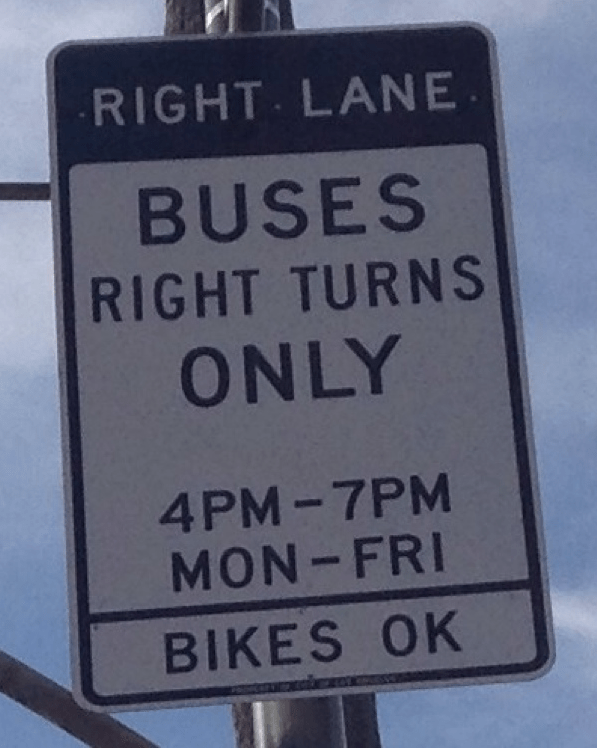 "Los Angeles bus-only lane signage. The bottom line states ""BIKES OK"" Photo: Marc Caswell"