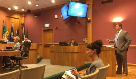 City of Monrovia Public Works Manager Sean Sullivan presenting Monrovia's Bicycle Master Plan at last night's council meeting. Photo: Joe Linton/Streetsblog L.A.