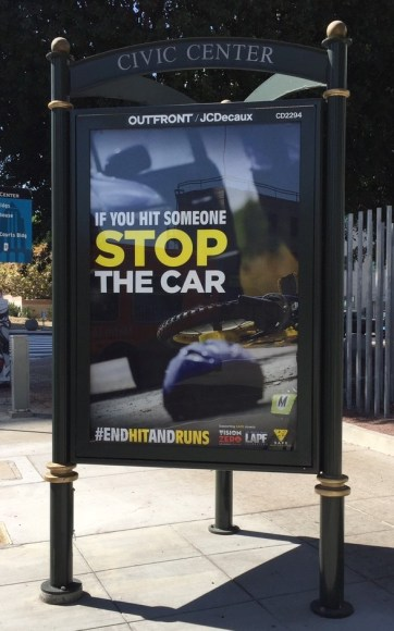 Eyes on the Street: #endhitandruns bus ads are popping up on bus shelters around Los Angeles. Photo: Joe Linton/Streetsblog L.A.