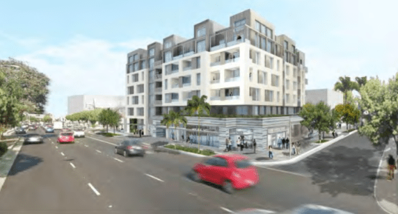 Rendering of the proposed project at 12444 Venice Blvd. via the Mar Vista Community Council website.