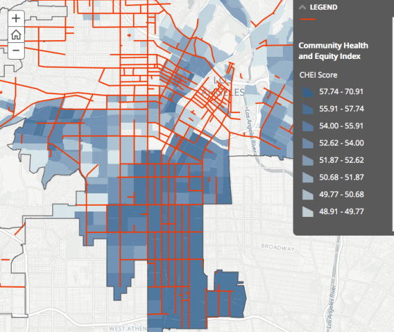 Detail of Vision Zero High Injury Network as it overlaps with equity indicators. Many of the streets highlighted in South L.A. are prioritized for potential safety interventions. Source: Vision Zero