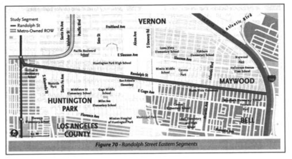 At least half of the Randolph Street option falls within Huntington Park's jurisdiction. Source: Feasibility Study
