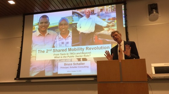 Bruce Schaller speaking at UCLA yesterday. Photo by Joe Linton/Streetsblog L.A.