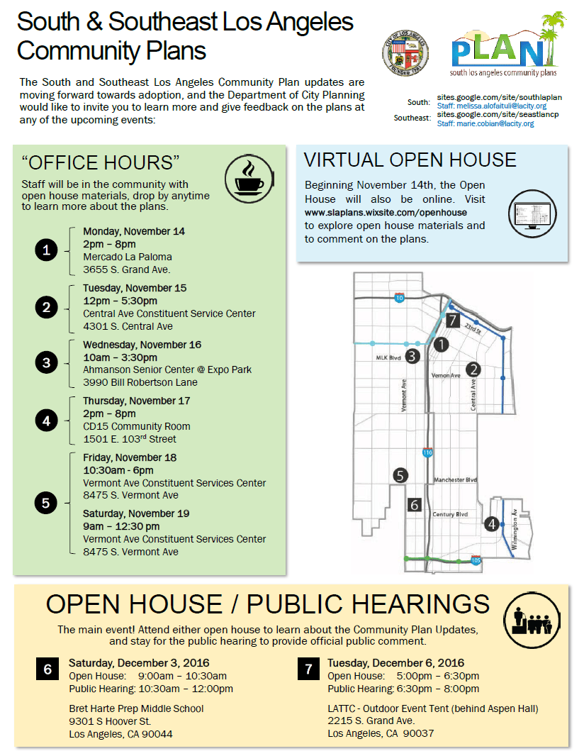 South L.A. and Southeast L.A. Community Plan open hours this week in advance of early December hearings