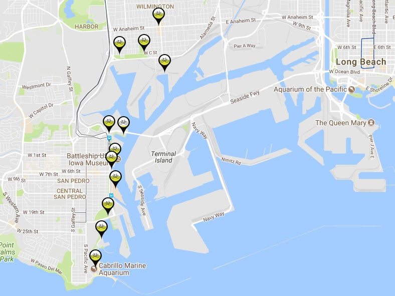 Map of Port of L.A. bike-share docks as of today. Screen capture from Metro Bike Share