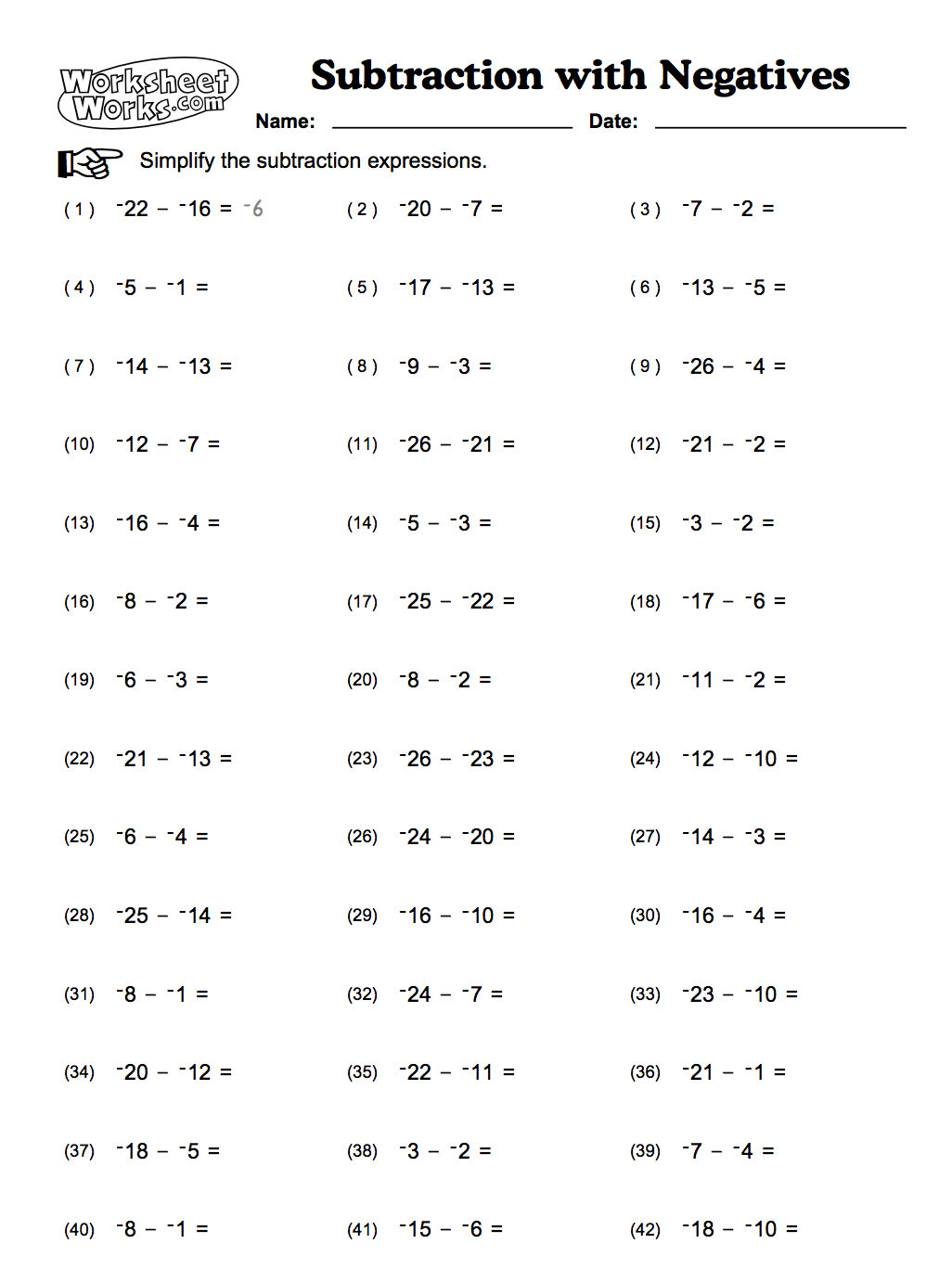 Subtracting Negative Numbers Worksheets