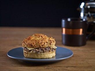 Breakfast sandwich three mushrooms