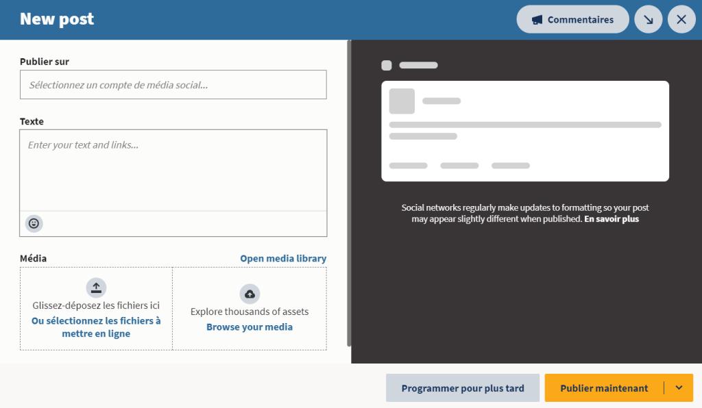 Interface de création de poste Hootsuite