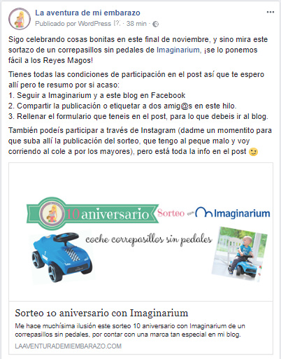 sorteo imaginarium facebook