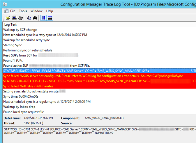 ConfigMgr 2012 WSUS Synchronization Errors – Lab Geek