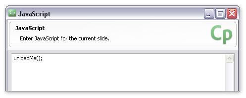 "Screenshot of Captivate's ""JavaScript"" window"