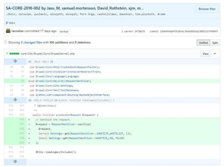 Drupalgeddon 2 vulnerability patchcommit