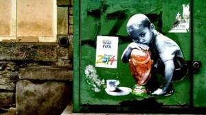 COPA. Los grafiteros argumentan que es una falta de respeto para todo el país el dinero gastado en construir estadios e infraestructura para el principal evento deportivo mundial, dejando a un lado las muchas y reales necesidades que tiene el pueblo brasileño.