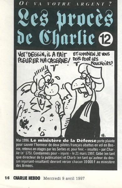"""Charlie Hebdo publicaba el """"estado"""" de sus juicios. Aquí un juicio perdido contra el Ministerio galo de la defensa para """"salvar el honor"""" de dos pilotos abatidos en Bosnia, injuriados por Charlie. Gebé, director de la publicación en la época y Charb son condenados a pagar 10000 francos de multa."""