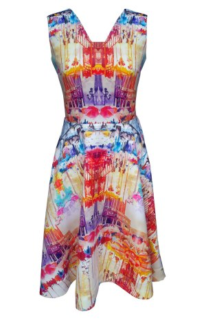 Parisian-print---fit-and-flare-dress---front