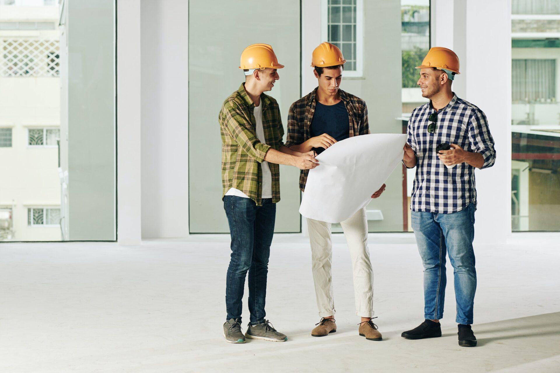 Contractors discussing plan