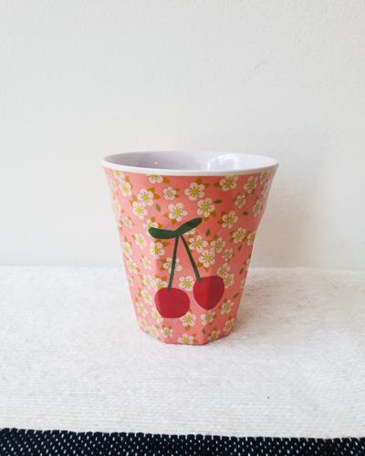 Bloemen print met kers, medium melamine beker - Rice