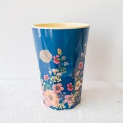 Blauwe bloemen print, grote melamine beker - Rice