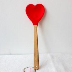 Melamine spatel met rood hart - Rice