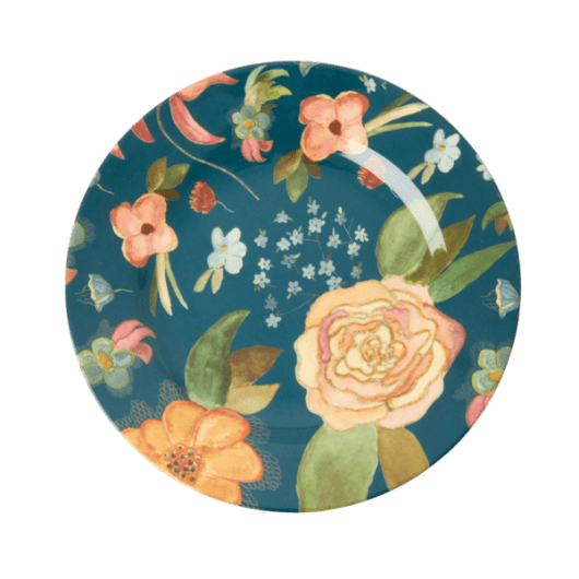 Melamine Side Plate with Selma's Fall Flower Print - Rice