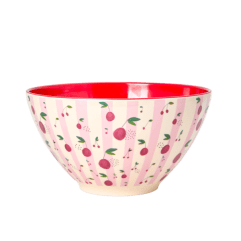 Melamine Salad Bowl with Cherry Print, Two Tone - Rice