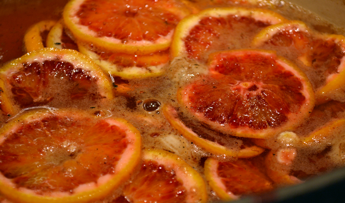 Gently simmering the blood oranges | labellasorella.com