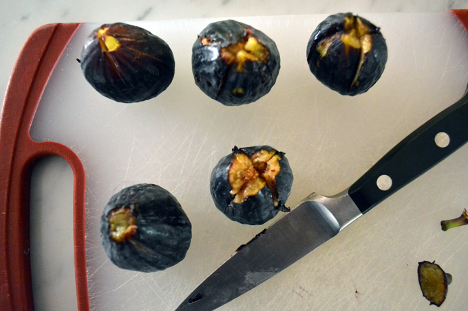 Figs, trimmed and cut - ready to be stuffed with a toasted walnut and Gorgonzola Dolce| labellasorella.com