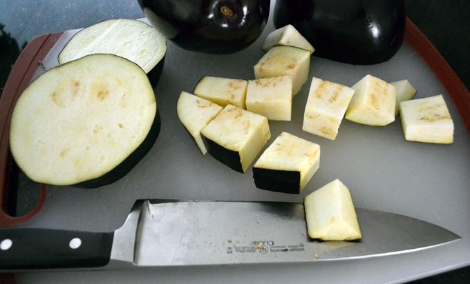 Cubing the eggplant for the farro salad | labellasorella.com