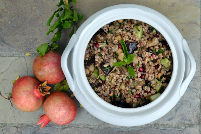Farro, Eggplant and Pomegranate Salad | labellasorella.com