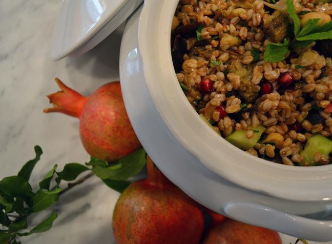 Farro, Eggplant & Pomegranate Salad | labellasorella.com