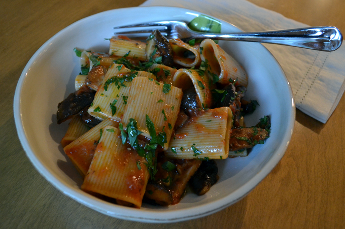 Paccheri with Tomato Sauce & Mushrooms or Paccheri alla Boscaiola  labellasorella.com